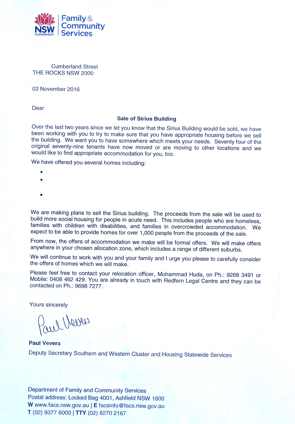 Family & Community Servcies Letter to Residents - 20161103