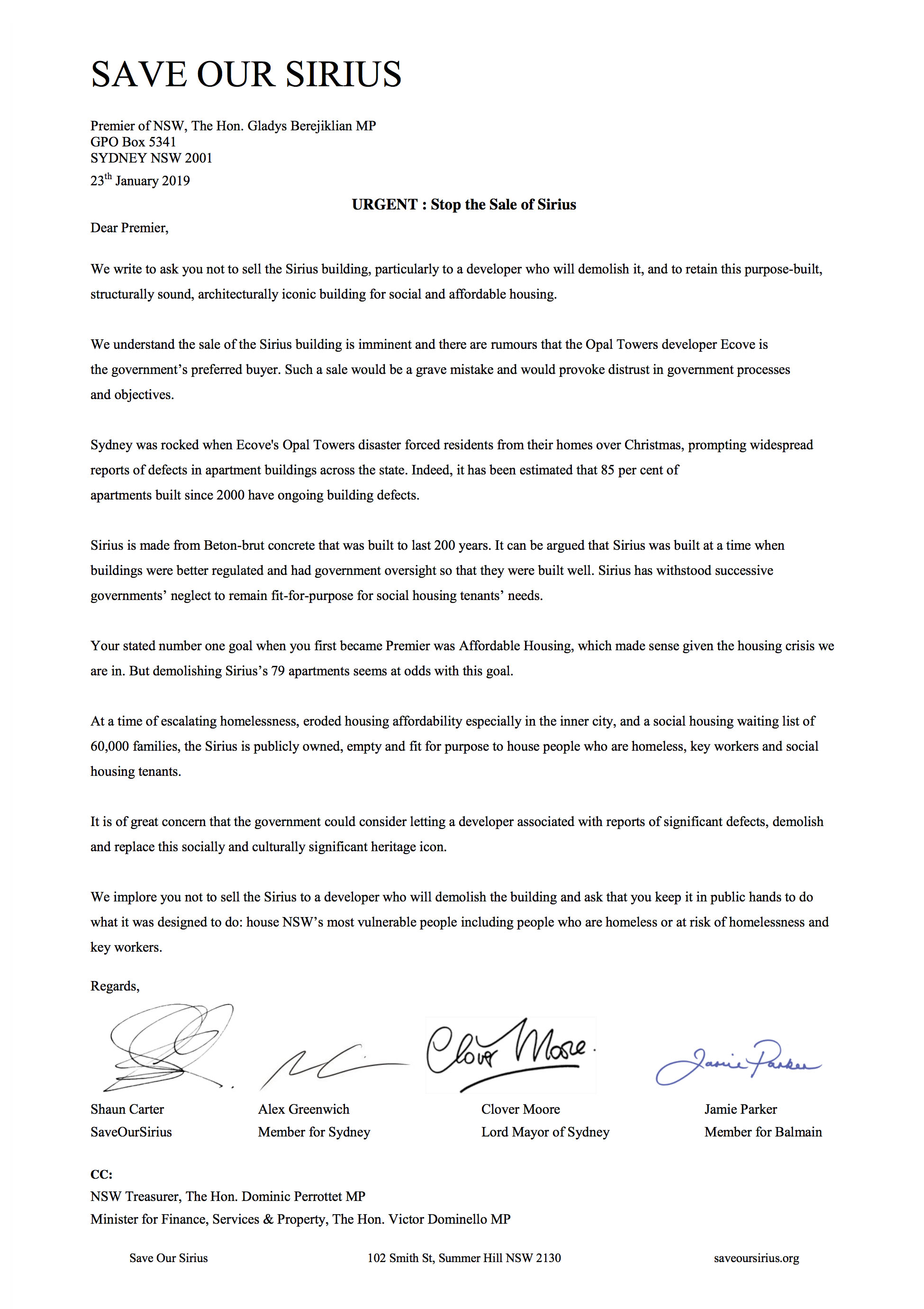 Open Letter to Premier: Stop The Sale Of Sirius – Save Our